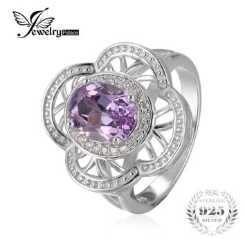 JewelryPalace Vintage Flower 2.8ct Created Alexandrite Sapphire Cocktail Ring 100% 925 Sterling Silver Wedding Fashion Jewelry