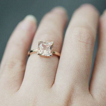 Fantastic!!! 8mm Cushion Cut Morganite Ring Rose Gold Morganite Engagement Ring Diamond Ring Anniversary Ring 14k Rose Gold Wedding Ring