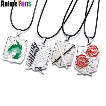 Cool Attack on Titan Anime  Necklace Survey Corps Military police regiment Training Corps Stationed Corps Rose Logo Choker Necklace AT_90_11