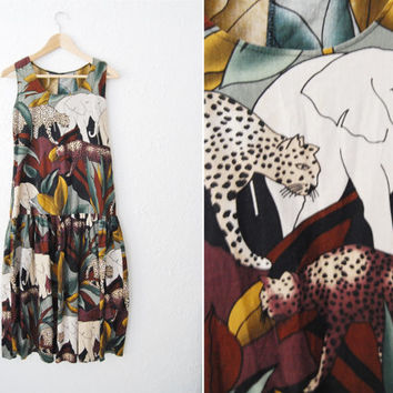 Vintage 90s Jungle Print Dropped Waist Dress / Summer / Festival / Elephant