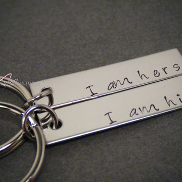 I am his I am Hers Keychains, Rectangle Keychains, Couples Keychains, Stamped Keychains, Wedding Gift, Couples Gift, From Bride to Groom