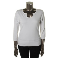 Cable & Gauge Womens Keyhole Ribbed Trim Pullover Sweater