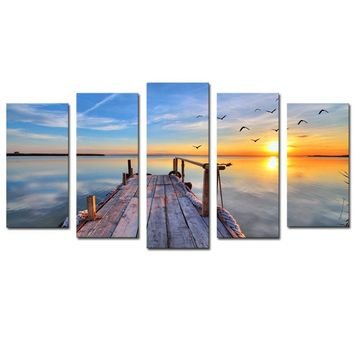 5 Panels Sunset Seascape Scenery Picture Print Painting Modern Canvas Wall Art for Wall Decor Home Decoration Artwork
