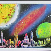 new york spray paint art,new york gift,new york cityscape,new york city art,framed artwork,space home decor,new york poster,city wall art