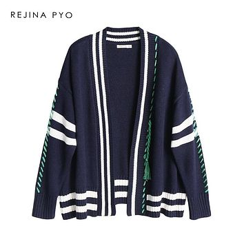 REJINAPYO Women Preppy Style Oversized Knit Sweater Open Stitch Striped V-neck Cardigans Long Sleeve 2019 Spring Women Fashion