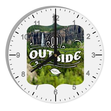 "Go Outside - Beautiful Cliffs 8"" Round Wall Clock with Numbers by TooLoud"