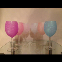 Glitter Wine glasses set of 6.