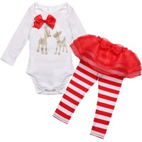 Baby Girls Christmas Outfit -Deer Romper with Striped Pants