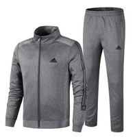 Adidas new fashion letter print stripe men long sleeve top coat and pants two piece suit Gray