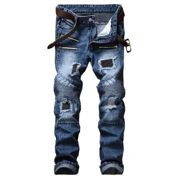Slim Ripped Holes Zippers Men Jeans [407120314397]
