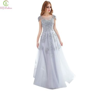 Fashion long evening dresses grey lace embroidery beading party gown bridal banquet elegant slim prom dress