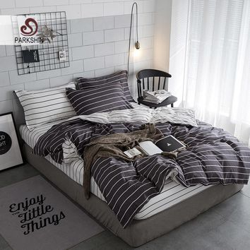 Cool Parkshin Bedding Sets Black Stripe Designer Duvet Cover Sheets Comforter Bedspread Queen King Bedclothes Double Bed Linens SetAT_93_12