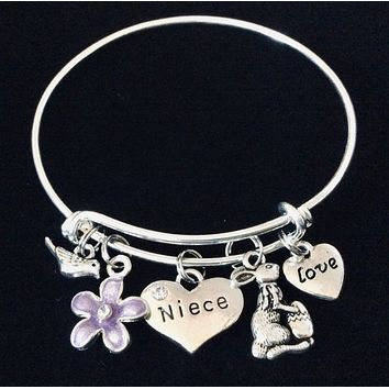 Easter Gift for Niece Easter Bunny Rabbit Purple Flower Expandable Charm Bracelet Silver Adjustable Wire Bangle Basket Gift
