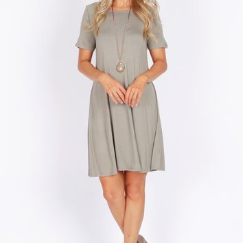 Simple Shift T-Shirt Dress Smoke Green