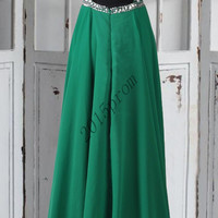 Lonng Green Stunning Beaded Crystal Prom Dresses 2015,Backless Prom Dresses,Formal Party Grown Prom Dresses,Bridesmaid Dresses