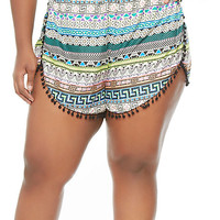 Plus-Size Printed Wrap Shorts - Rainbow
