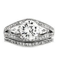Sterling Silver Round cut and Teardrop CZ Three Stone Split Shank Wedding Ring Set Size 5-9