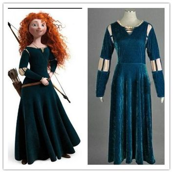 VONEY3N disfraz brave merida costume adult for girls princess brave dress adult halloween costumes for women princess party kids green