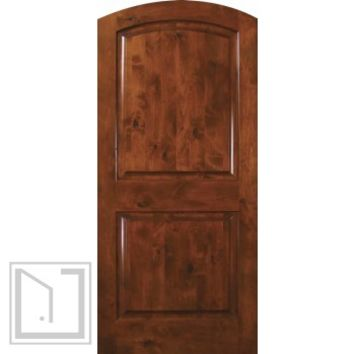 Slab Exterior Interior Single Door 80 Wood Alder 2 Panel Arch Top