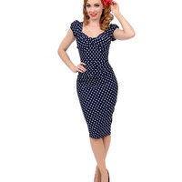 Stop Staring! 1940s Style Navy & White Dotted Billion Dollar Baby Wiggle Dress