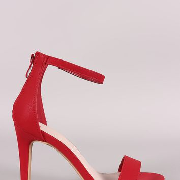 Nubuck Ankle Strap Open Toe Stiletto Heel