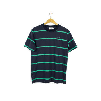 basic striped tee - navy blue mint green stripes shirt - medium