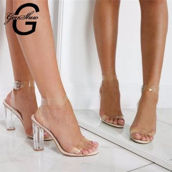 11cm Summer Women Sandals PVC Block High Heel Crystal Clear Transparent Sandals Concis