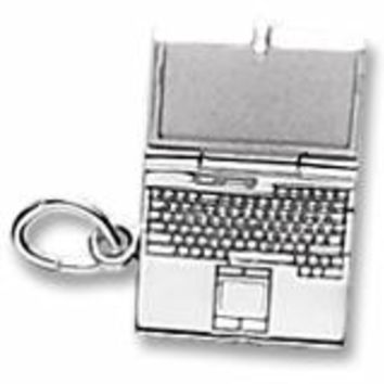 Laptop Computer Charm In 14K White Gold