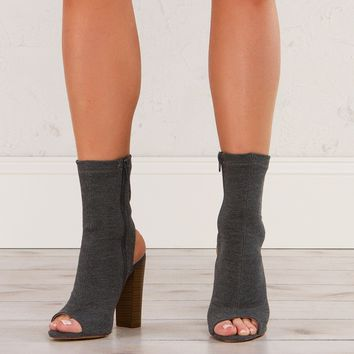 Peep Toe Jersey Booties in Grey and Black