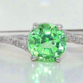 1.5 Carat Green Sapphire Diamond Ring .925 Sterling Silver Rhodium Finish