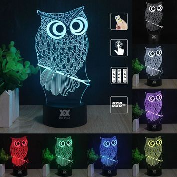 OWL 3D Night Light RGB Changeable Mood Lamp LED Light DC 5V USB Decorative Table Lamp Get a free remote control