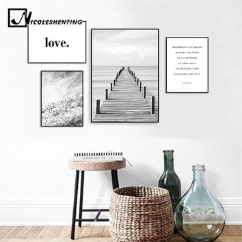Scandinavian Landscape Wooden Pier Bridge Canvas Poster Motivation Nordic Style Wall Art Print Painting Decoration Picture
