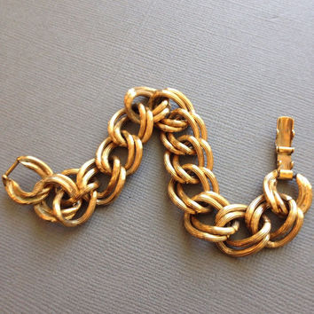Curb Link Bracelet Gold Double Link Chain Avon