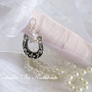 Western Wedding Bouquet Charm, Horseshoe,Made To Order, Brides Good Luck Charm