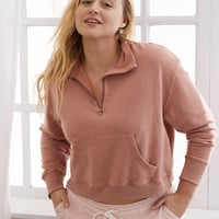 Aerie Quarter Zip Beach Fleece, Faded Red