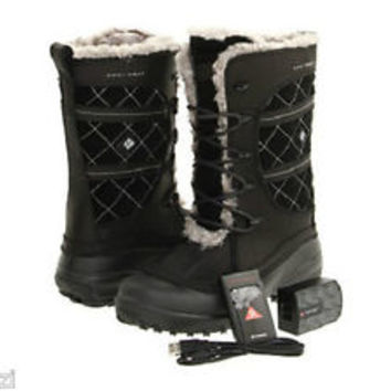 "NEW $375 WOMENS COLUMBIA OMNI-HEAT  ""Heather Canyon"" ELECTRIC HEATED SNOW BOOTS"
