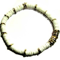 4mm white shell beads accentuated by silver plated Heishi Bracelet