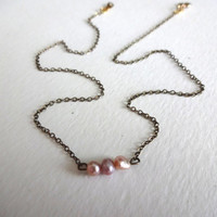 Handmade Delicate Pink Freshwater Pearl Necklace
