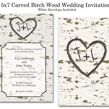 Wedding Invitations 5 x 7 inches Customized to fit your needs Front and Back Printing Carved Cream Brown Birch Wood Rustic Print