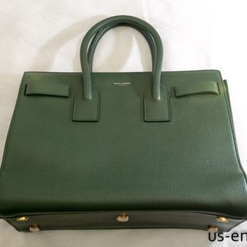 NWT YVES SAINT LAURENT BABY SAC DE JOUR DARK GREEN GRAINED LEATHER BAG $2790