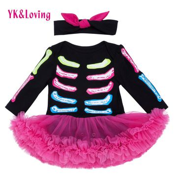 Newborn Winter/Autumn Halloween Baby skull Dresses Long Sleeve Cotton Rompers Tutu Dress For Girl Infant 0-24 months Clothes