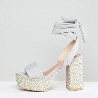 Lost Ink Wide Fit Light Gray Platform Heeled Sandals at asos.com