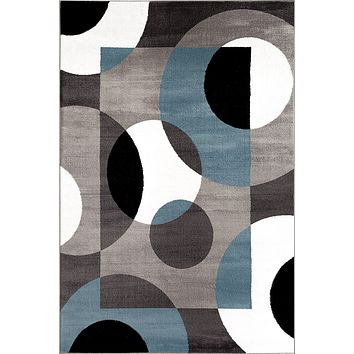 2101 Blue Geometric Contemporary Area Rugs