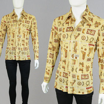 Vintage 70s Levis Disco Shirt Western Shirt Cowboy Shirt Novelty Print Mens Medium Pointed Collar Dagger Collar Nylon Shirt 1970s Shirt