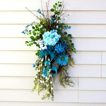 Mothers Day Wreath, teardrop door swag, spring summer swag, twig wreath, french country wreath, country cottage wreath, front porch decor