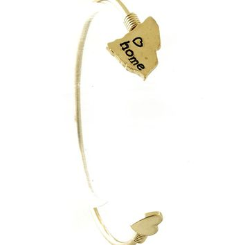Gold State Of South Carolina Metal Wire Cuff Bracelet