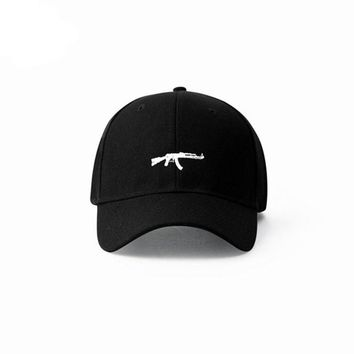 Automatic Rifles Embroidered Men's Hats Curved Eaves Retro Army Style Cap Casual Snap back Baseball Caps