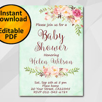 Editable Baby Shower Invitation, Watercolor turquoise Invitation, Instant Download diy, etsy Baby Shower invitation XB302t-1