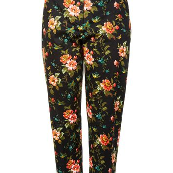 Floral Jacquard Cigarette Trousers - Trousers & Leggings - Clothing