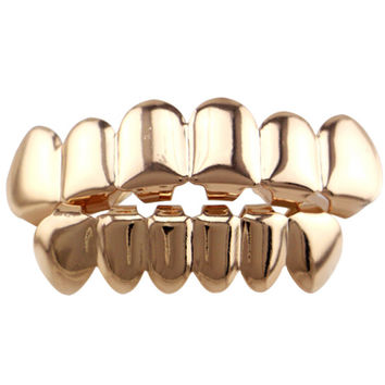 Real Shiny! Gold color /black/rose Gold /silver Color Hip Hop Teeth Grillz Top & Bootom Set With  Vampire Teeth